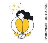 cute cartoon woman hugs her... | Shutterstock .eps vector #1831150933