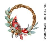 Winter Festive Wreath With Red...