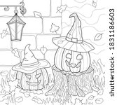 Two Evil Pumpkin With Witch...
