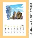 calendar sheet layout july... | Shutterstock .eps vector #1831199890