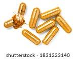 Closeup turmeric herbal powder...
