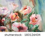 watercolor spring flowers | Shutterstock . vector #183126434