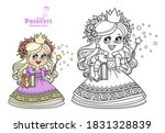 cute princess with book in hand ...   Shutterstock .eps vector #1831328839