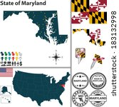 Vector Set Of Maryland State...
