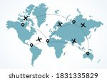world map with flying airplanes....   Shutterstock .eps vector #1831335829