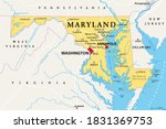 Maryland  Md  Political Map....
