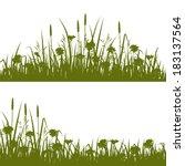 grass and wild flowers... | Shutterstock .eps vector #183137564