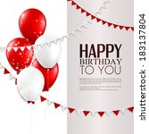 vector birthday card with... | Shutterstock .eps vector #183137804