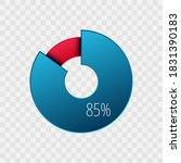 85 percent pie chart isolated... | Shutterstock .eps vector #1831390183