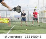 paddle tennis master with his... | Shutterstock . vector #183140048