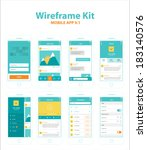 wireframe kit mobile app v.1 | Shutterstock .eps vector #183140576