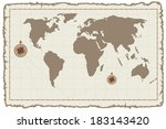 old medieval style world map on ... | Shutterstock . vector #183143420