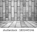 empty grey interior  vintage... | Shutterstock . vector #1831445146