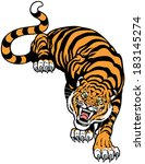 angry tiger front view   ... | Shutterstock .eps vector #183145274