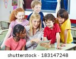 teacher using digital media on... | Shutterstock . vector #183147248