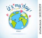 cute cartoon earth globe... | Shutterstock .eps vector #183150359