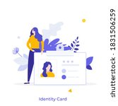 woman holding id  name tag ... | Shutterstock .eps vector #1831506259