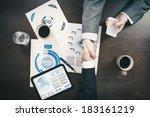 hand shake at business meeting... | Shutterstock . vector #183161219