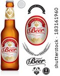 beer label and neck label on... | Shutterstock .eps vector #183161960
