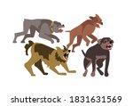 flock of wild stray dogs attack.... | Shutterstock .eps vector #1831631569