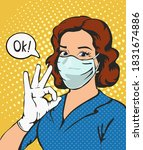 woman with medical mask and... | Shutterstock .eps vector #1831674886