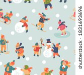 seamless pattern. winter season ... | Shutterstock .eps vector #1831693696