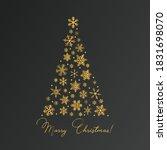 christmas tree made of golden... | Shutterstock .eps vector #1831698070