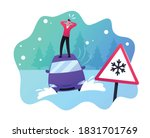 desperate male character stand...   Shutterstock .eps vector #1831701769