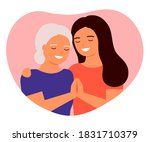 old mother and adult daughter...   Shutterstock .eps vector #1831710379