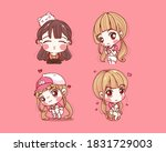 set of cute girl happy and...   Shutterstock .eps vector #1831729003