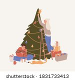 happy couple decorating... | Shutterstock .eps vector #1831733413