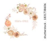 floral wedding frame  boho dry... | Shutterstock .eps vector #1831738606