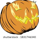 a jack o lantern with flames... | Shutterstock .eps vector #1831746340