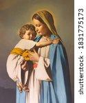 Small photo of REGGIO EMILIA, ITALY - APRIL 12, 2018: The painting of Madonna with the Child in church Chiesa dei Cappuchini by Padre Angelico da Villarotta (1939).