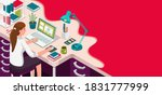 learning online at home....   Shutterstock . vector #1831777999