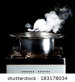 steam over cooking pot | Shutterstock . vector #183178034