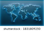 geometric world map background. ... | Shutterstock . vector #1831809250