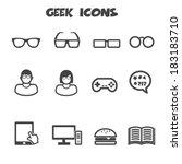 geek icons  mono vector symbols | Shutterstock .eps vector #183183710