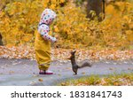 A Girl Feeds A Squirrel In An...