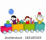 kids and train | Shutterstock .eps vector #183185333