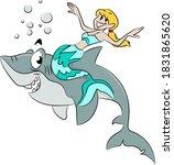 Cartoon Mermaid Sitting On The...