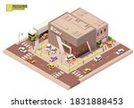 Vector isometric car dealership showroom and service station. New cars on the display and test drive automobiles. Customers watching at exhibition. Automobile repair and service area with workers - stock vector