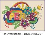 peace hippie art style... | Shutterstock .eps vector #1831895629