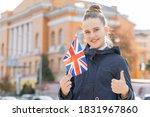 Teenage Girl With The Flag Of...