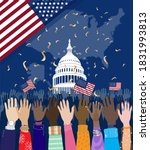 diverse hands raised up  people ... | Shutterstock .eps vector #1831993813