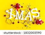 christmas card with gift box... | Shutterstock . vector #1832003590