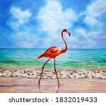 flamingo is walking along the... | Shutterstock .eps vector #1832019433