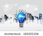 creative idea in light bulb as... | Shutterstock .eps vector #183202106