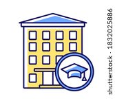 Dormitory RGB color icon. Students residence hall. Accommodation for freshmen. Students housing and apartments. University campus building. Education. Isolated vector illustration