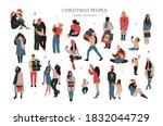 set of abstract christmas... | Shutterstock .eps vector #1832044729